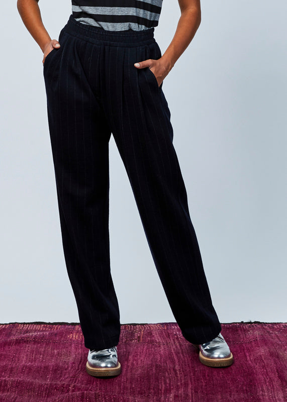 Pinstripe Wool Easy Pant