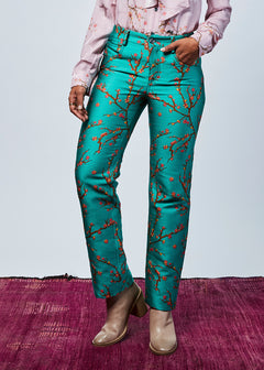 Almond Tree Silk Jacquard Trouser