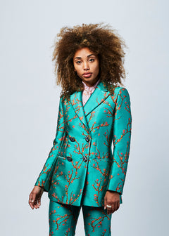 Almond Tree Silk Jacquard Blazer