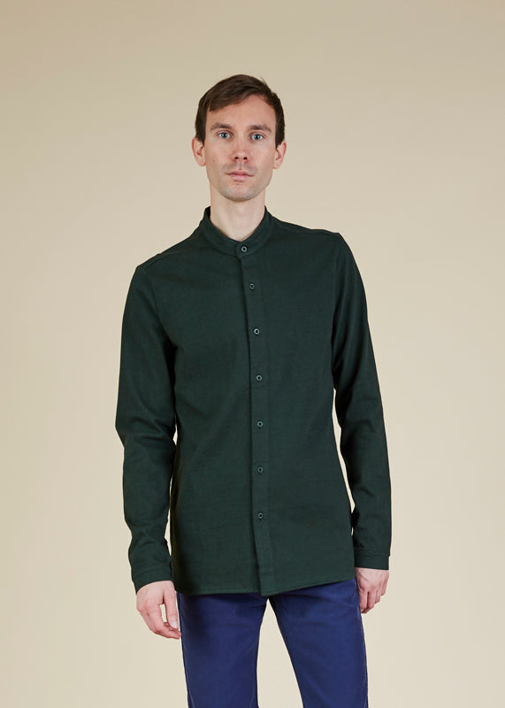 Wayne Band-Collar Shirt