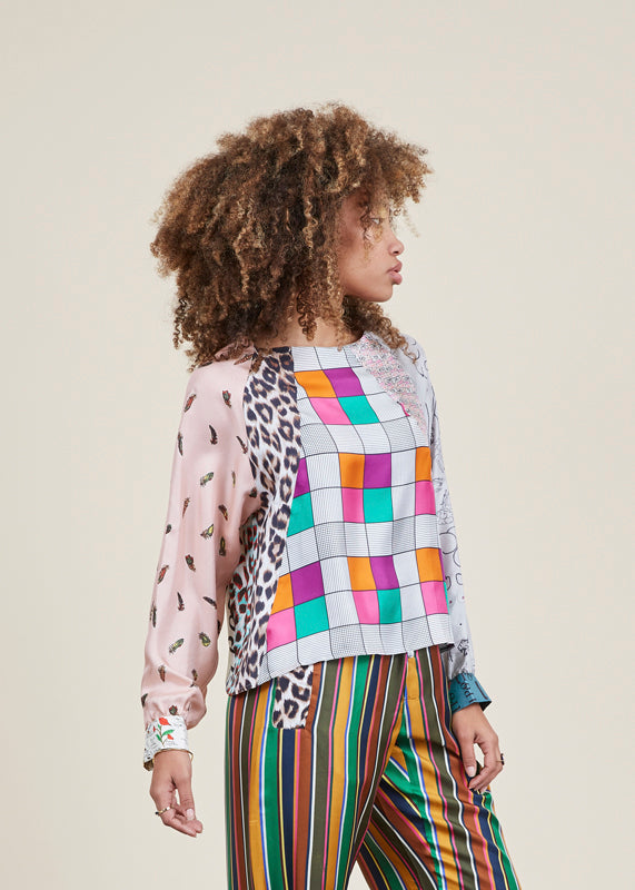 Graphic Patchwork Blouse