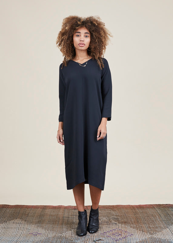 V-Neck Silk Dolman Dress