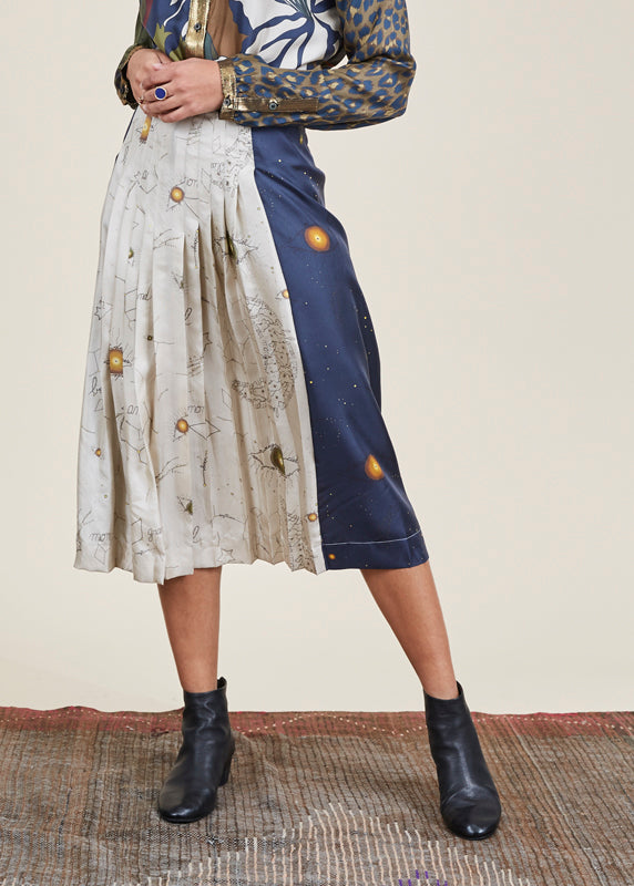 Sagan Pleated Silk Skirt