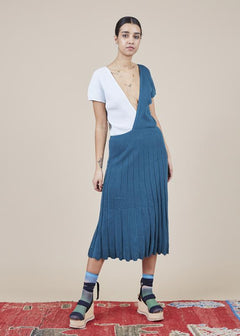 Colorblock Mini Pleat Dress