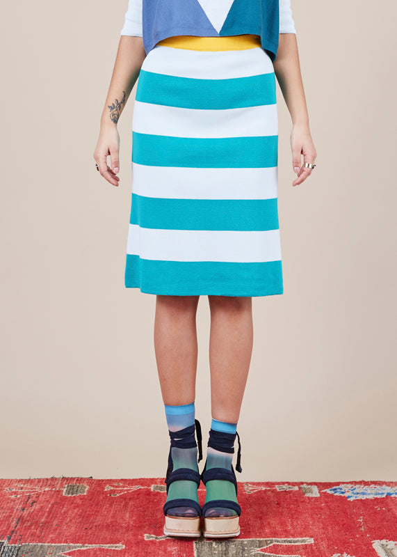 Striped A-Line Skirt