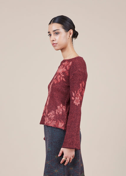 Bell Sleeve Floral Sweater