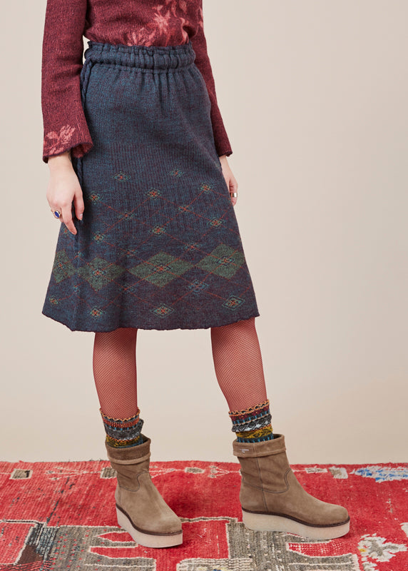 Knit Argyle Skirt