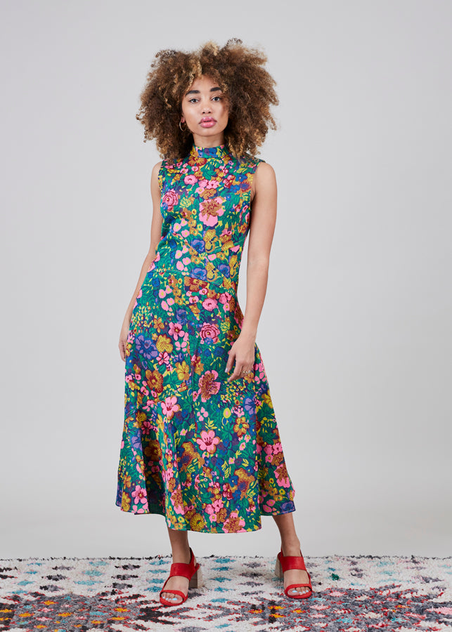 Odeeh Sleeveless Floral Flare Dress