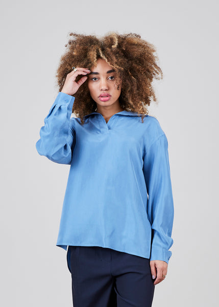 Open Collar Silk Shirt