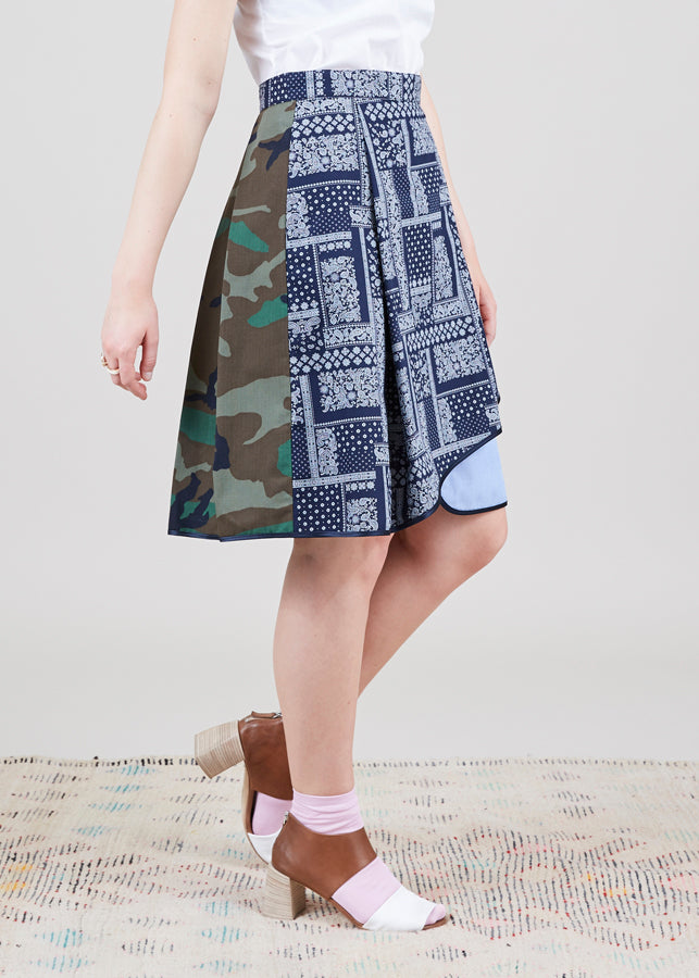 Asymmetric Mixed Media Skirt