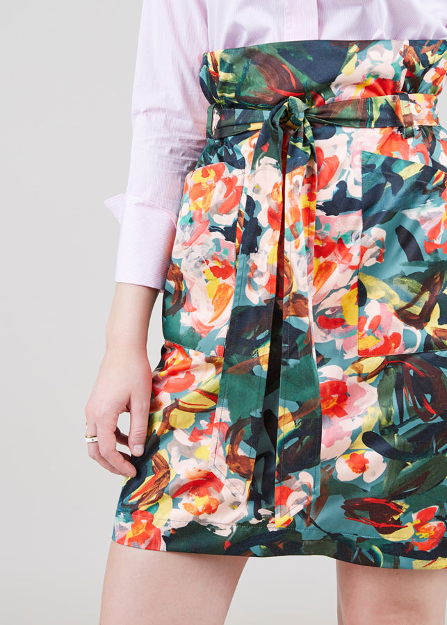 Front Tie Floral Skirt