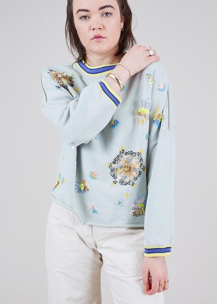 Floating Floret Beaded Sweatshirt