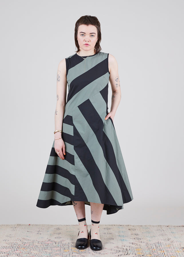 Block Stripe Sleeveless Dress
