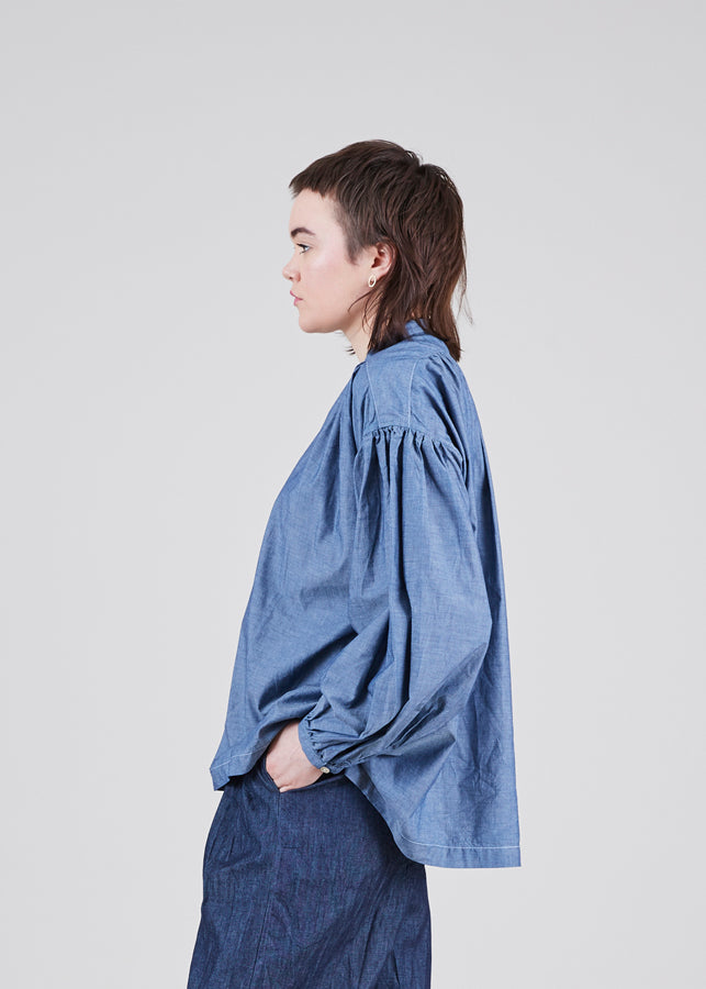 Chambray Peasant Blouse