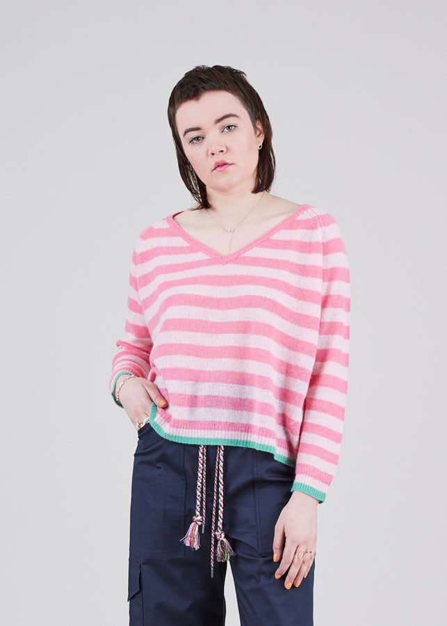 V-Neck Cashmere Stripe Sweater