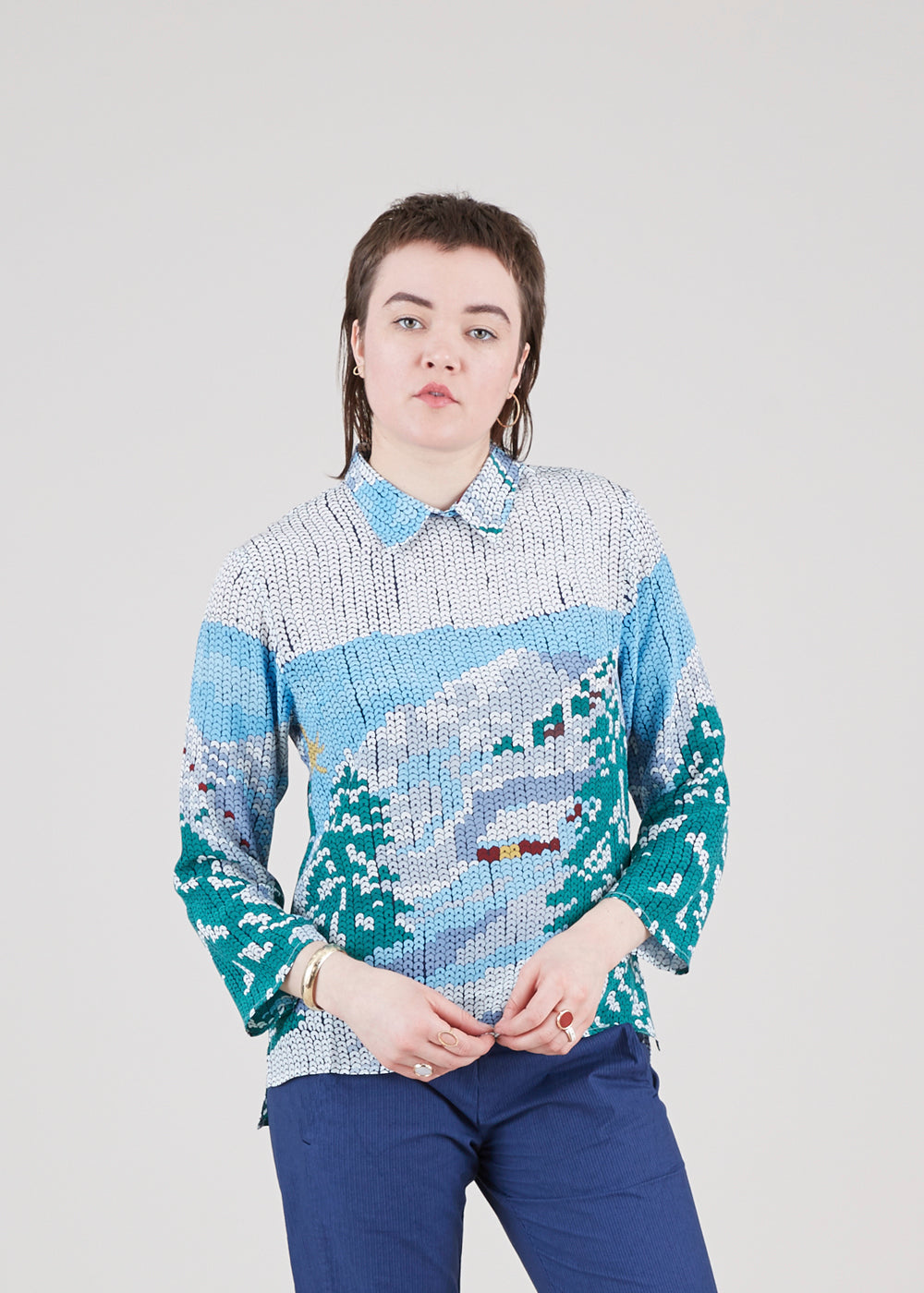 Sequin Print Silk Shirt