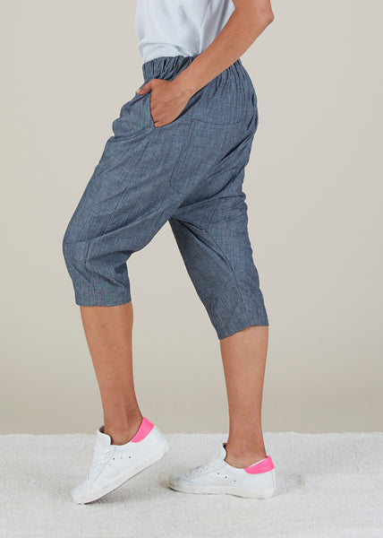 Chambray Harem Short
