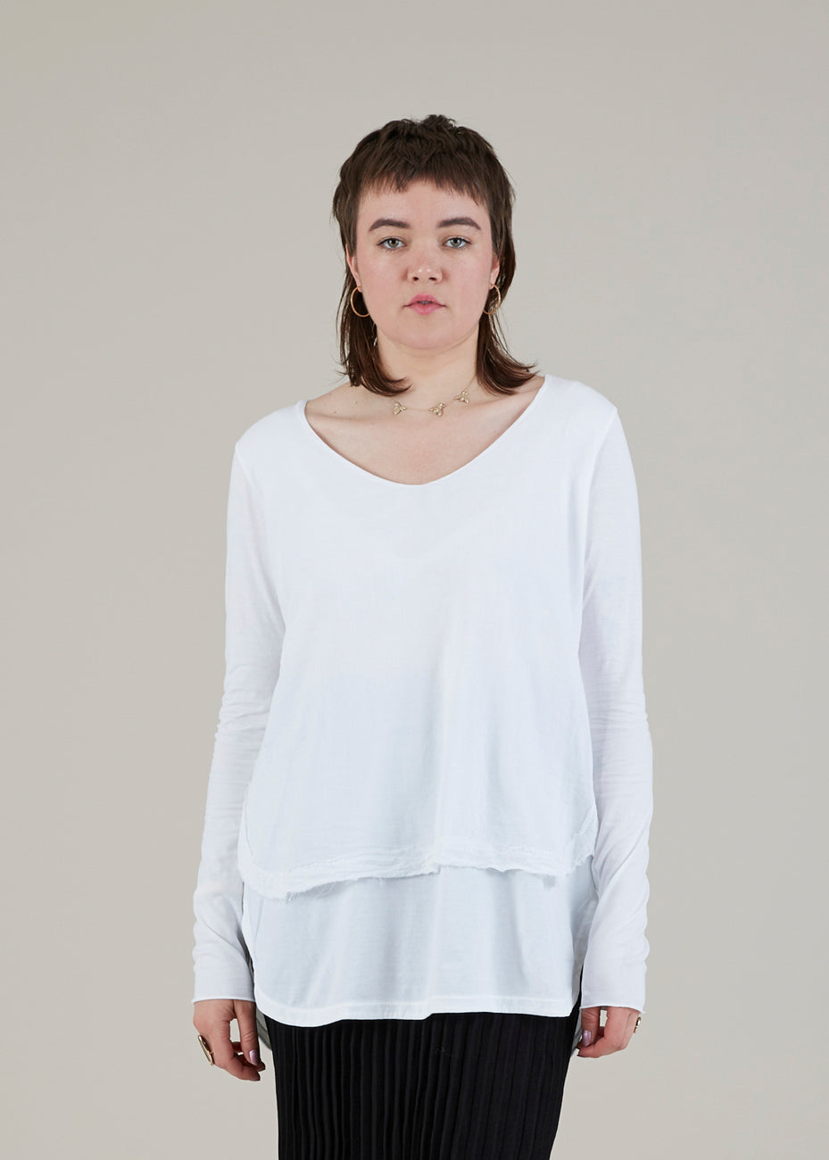 Double Layer V-Neck Blouse