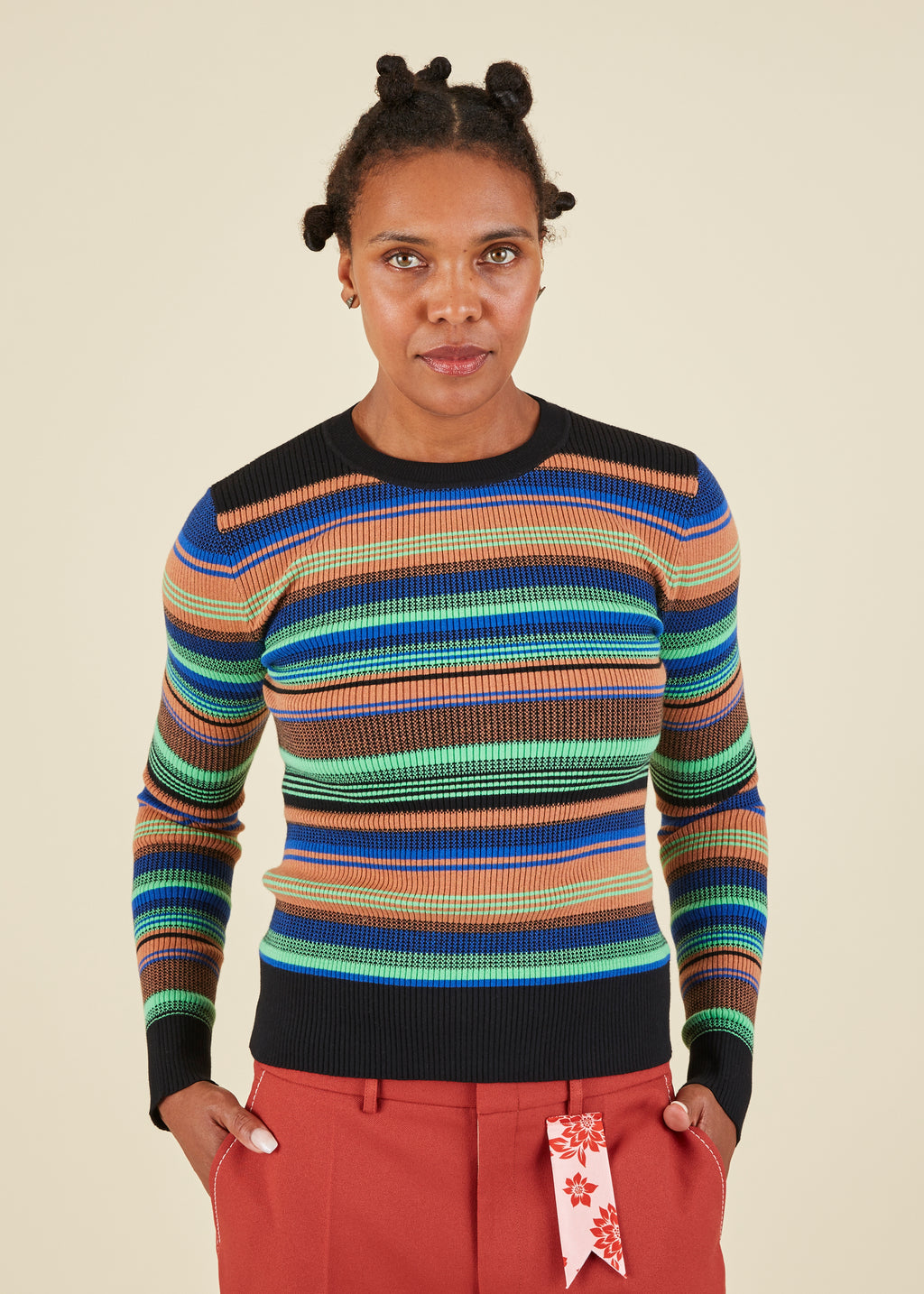 JoosTricot Variegated Stripe Crewneck Sweater
