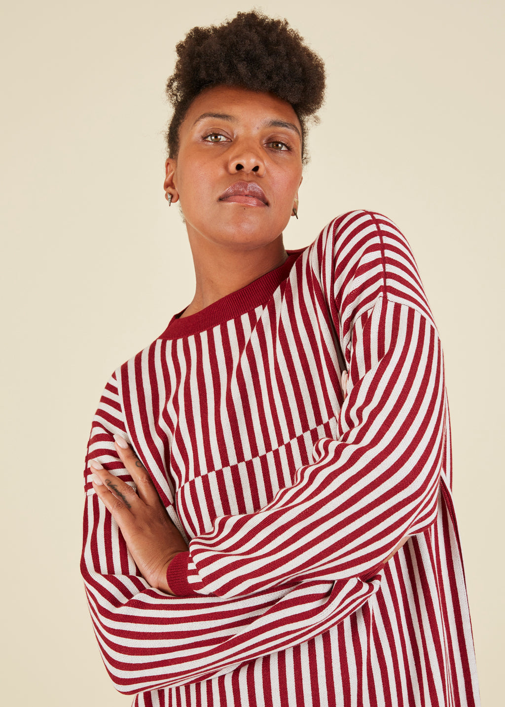 Sara Lanzi Striped Merino Crewneck Sweater