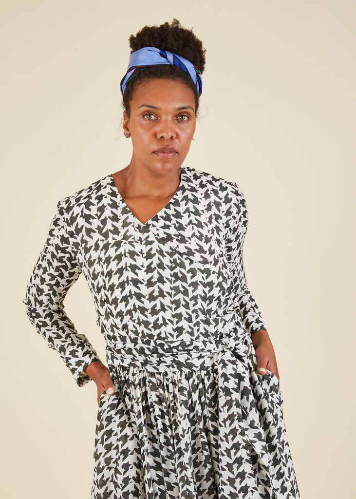 Houndstooth Wrap Dress