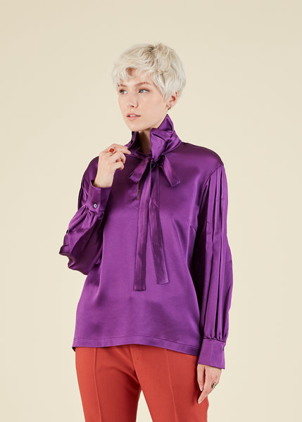 Pleated Sleeve Tie Blouse