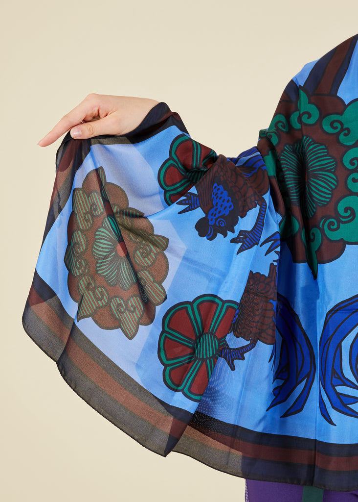 Rooster Print Silk Scarf