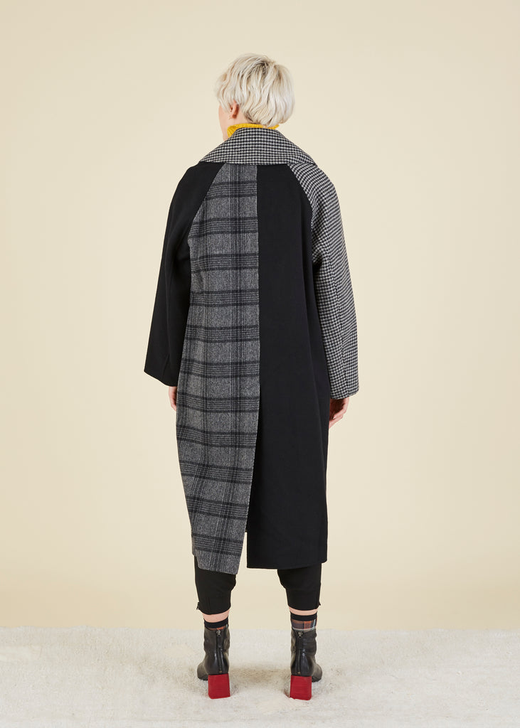 Mixed Plaid Coat