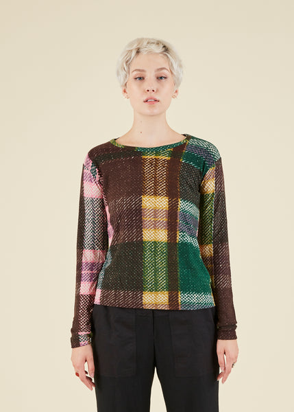 Plaid Print Wool Tee
