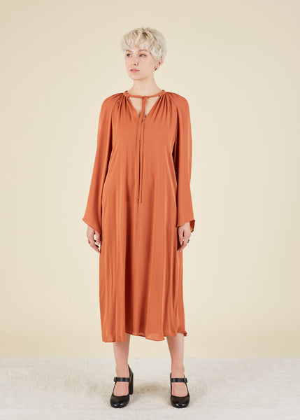 Bell Sleeve Silk Dress