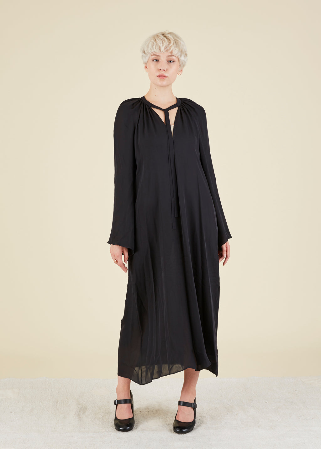 VOZ Bell Sleeve Silk Dress