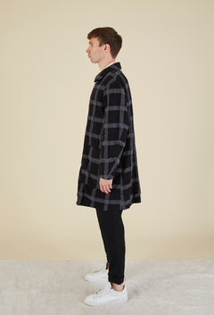 Windowpane Wool Blend Coat
