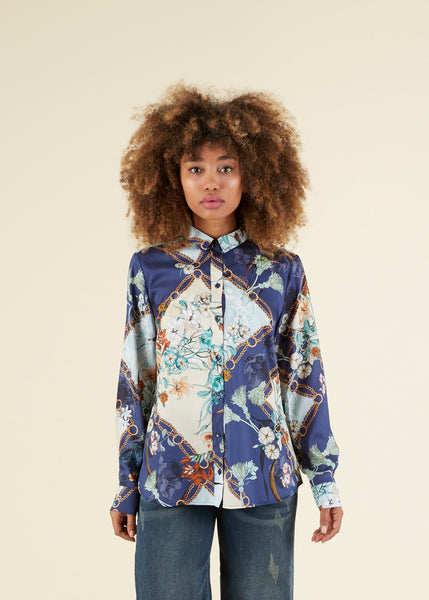 Flower and Chain Print Blouse