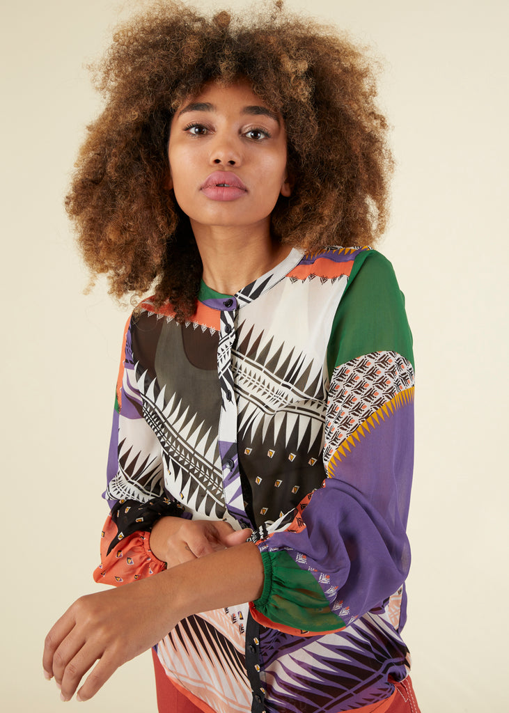 Multi Pattern Viscose Blouse