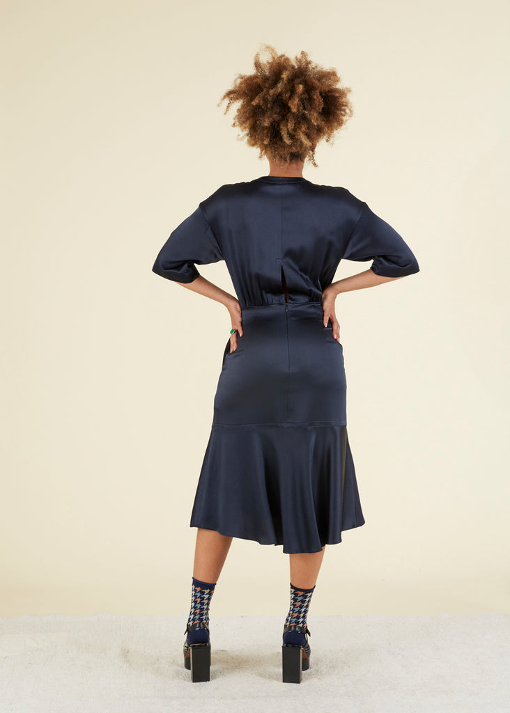 Fitted Button-Collar Dress