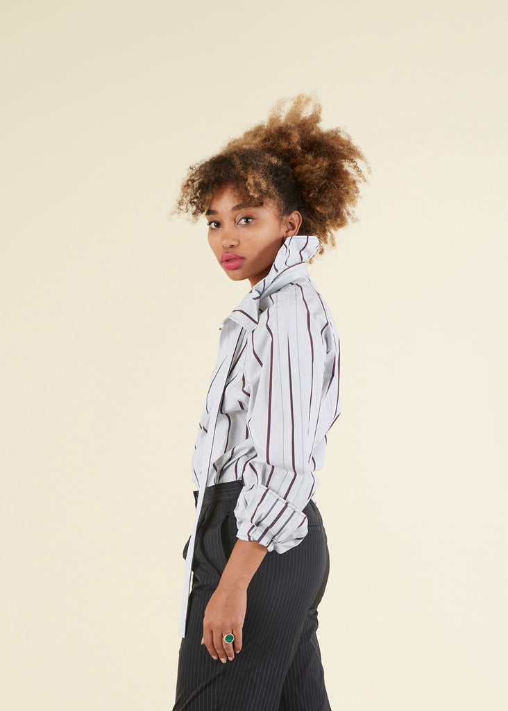 Tie Collar Striped Blouse