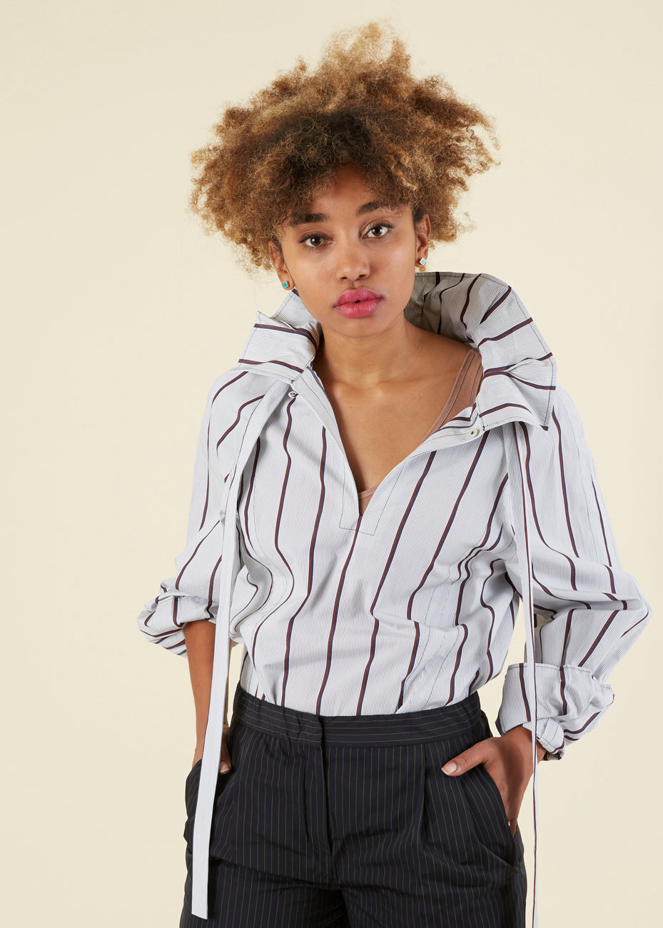 Odeeh Tie Collar Striped Blouse