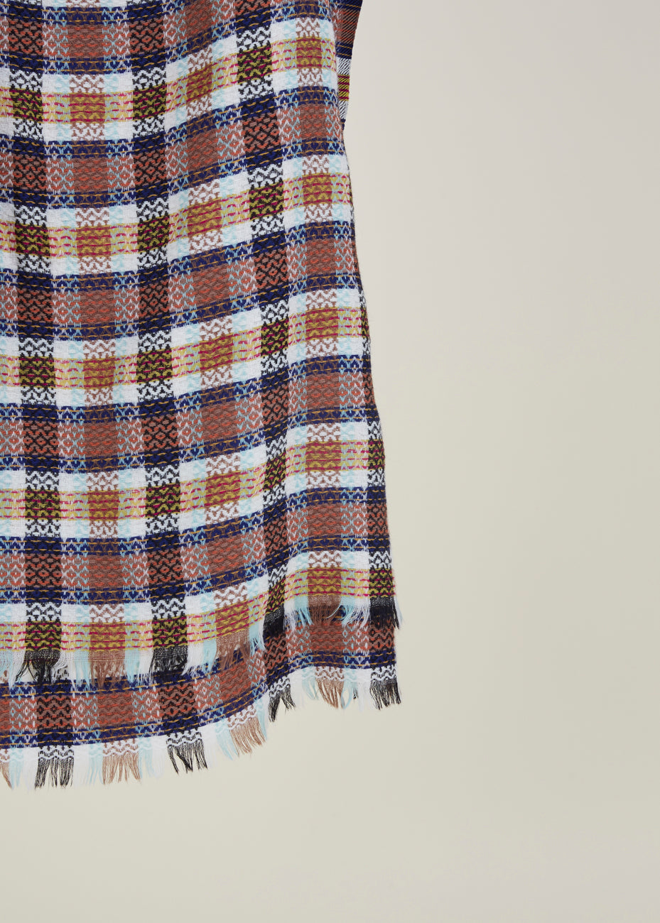 Square Plaid Wool Scarf