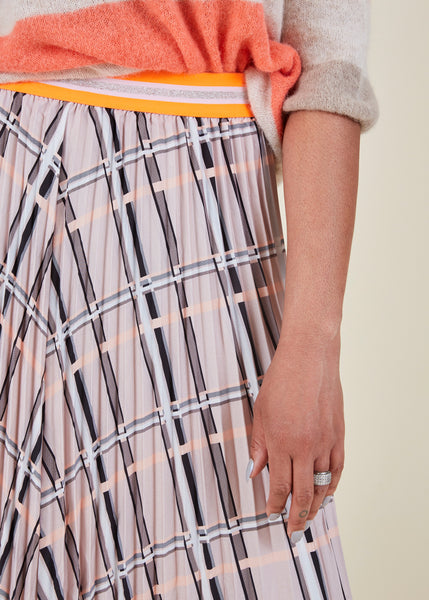 Plisse Checked Skirt