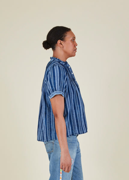 Ruffle Indigo Stripe Top