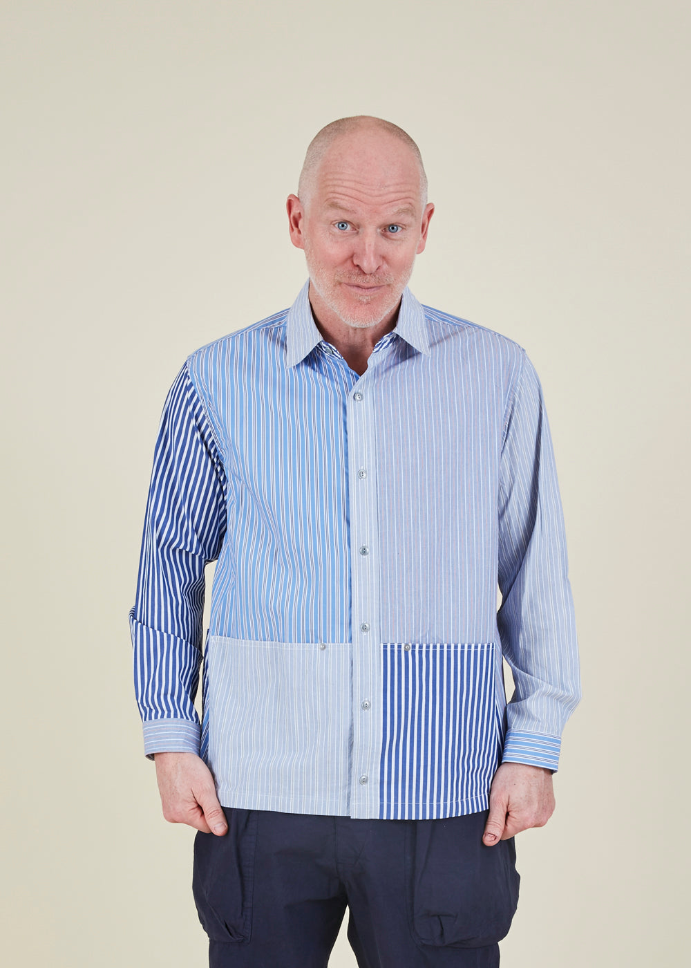 Stripe Pattern Work Shirt