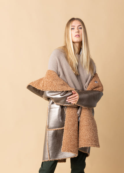 Patent Eco-Sheepskin Reversible Coat