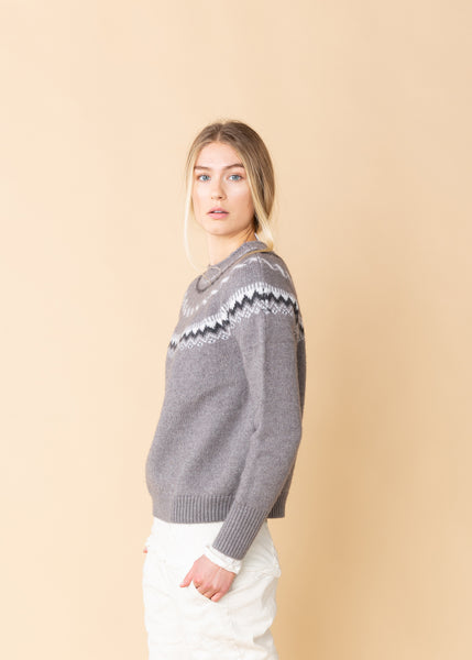 Patterned Yoke Wool Sweater