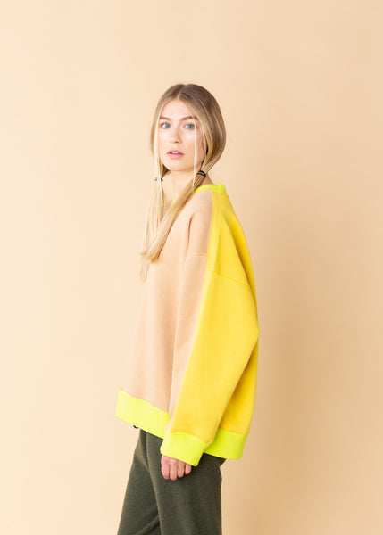 Oversized Contrast Color Sweatshirt
