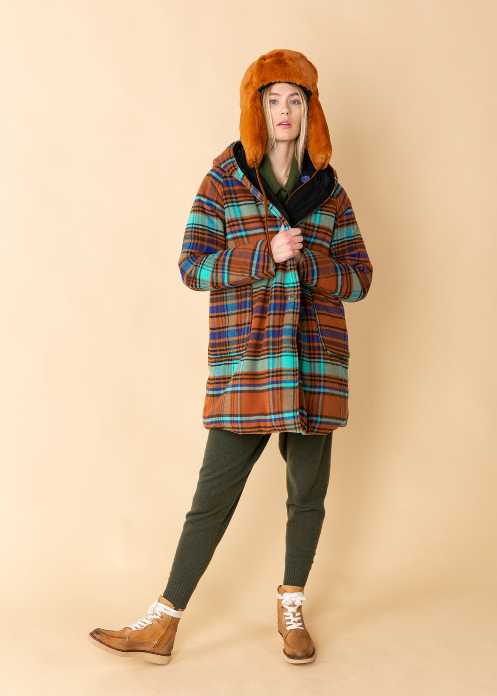 Reversible Check Wool Parka