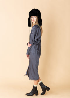 Raw Seamed V-Neck Dress