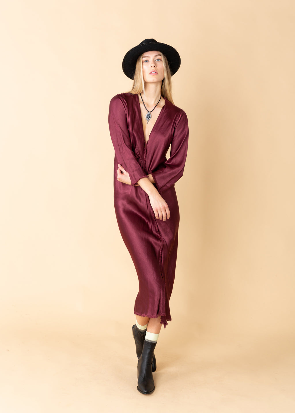 Jaga Residency Long Sleeve V-Neck Dress