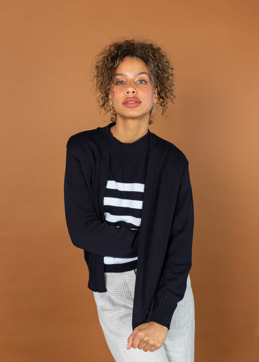 MJ. Watson Open Front Cotton Cardigan