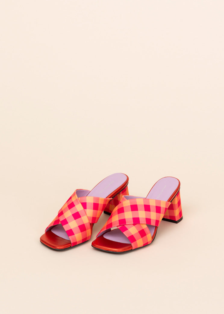 Madge Plaid Slide