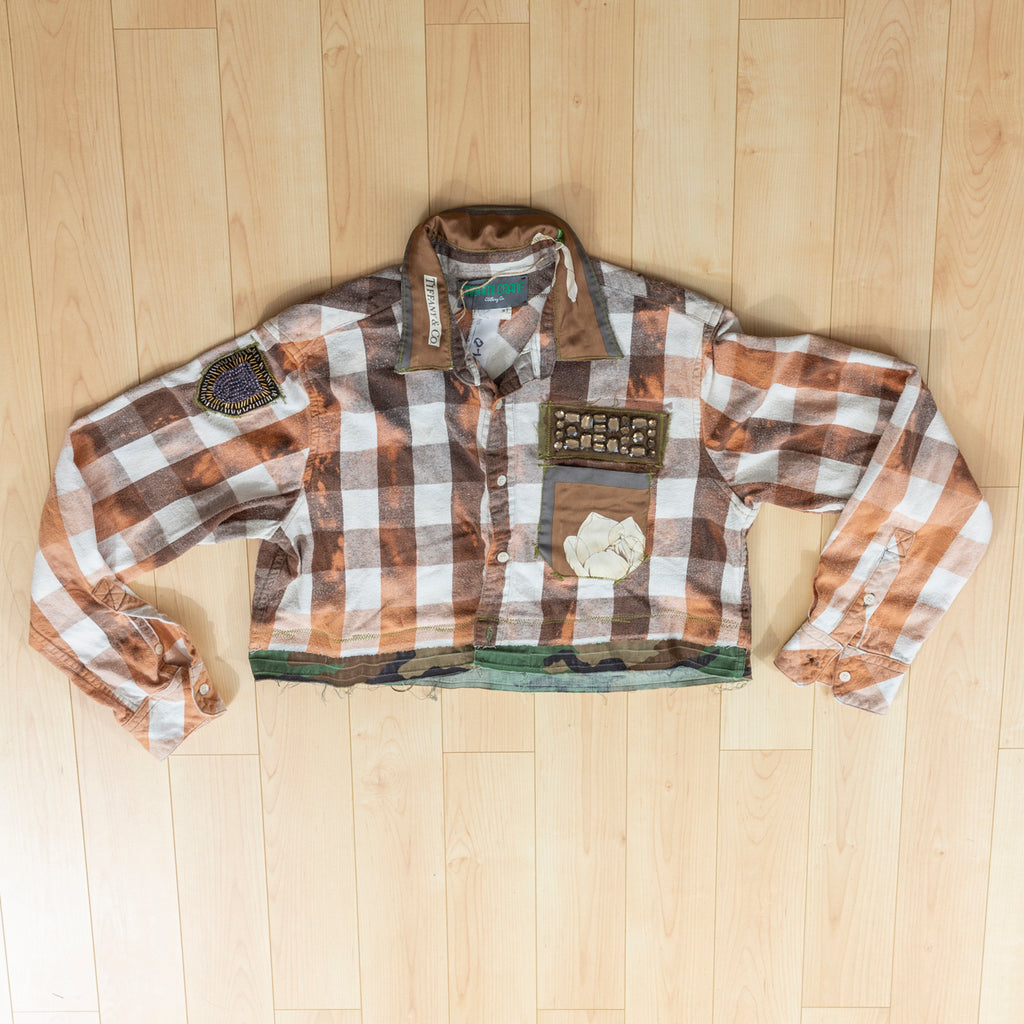 Origami Crane Crop Flannel Jacket with Deer